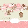 Vector de stock : Spring background with bird houses, birds and flowers