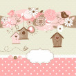 Spring background with bird houses, birds and flowers — Vector de stock #27379395