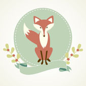Fox, frame and ribbon — Stock Vector