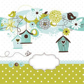 Spring background with bird houses, birds and flowers — Vettoriale Stock