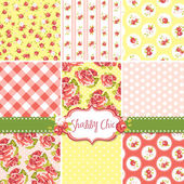 Shabby Chic Rose Patterns and seamless backgrounds. — ストックベクタ