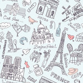 Paris seamless doodles background — Stock Vector