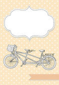 Tandem Bicycle Wedding Invitation — Stock Vector