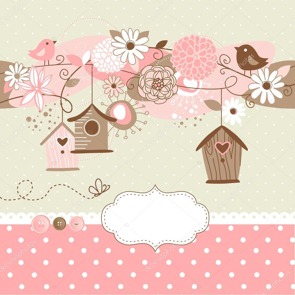 Fundo de primavera com casas de aves pássaros e flores — Vetores  #C5060B 1024x1024