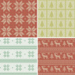 Traditional christmas seamless patterns — Stockvektor