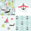 Set of 4 nautical backgrounds — Stock Vector