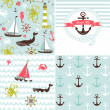 Stock Vector: Set of 4 nautical backgrounds