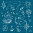 Doodle Sea vintage elements — Stockvektor