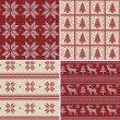 Traditional christmas seamless patterns — ストックベクタ