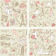 Four wonderful collections of hand drawn doodles — Stock Vector