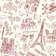 Paris seamless doodles background — Stock Vector #27382349