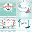 Vector de stock : Set of 4 Nautical cards