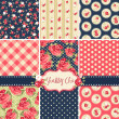 Stok Vektör: Shabby Chic Rose Patterns