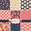 Stock vektor: Shabby Chic Rose Patterns