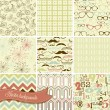 Hipster retro seamless backgrounds — Stock Vector