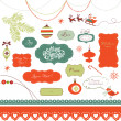 Stock Vector: Set of Christmas scrapbook elements