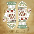 Hipster Christmas card with mittens — Vektorgrafik