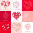 Greeting cards with hearts — Stockvectorbeeld