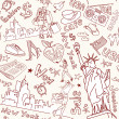 New York seamless doodles pattern — Stockvektor