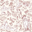 New York seamless doodles pattern — Stock vektor