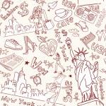 New York seamless doodles pattern — Stock Vector