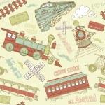 samles padrão vintage trens — Vetor de Stock  #27384441