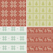 Traditional christmas seamless patterns — Stock Vector