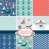 Set of 9 nautical backgrounds — 图库矢量图片