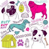 Love Dogs! vector doodles set — Stock Vector