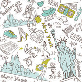 New York seamless doodles pattern — Stock Vector