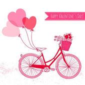 Cykel med ballonger och en korg full av blommor — Stockvektor