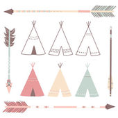 Teepee Tents and arrows — Stock Vector