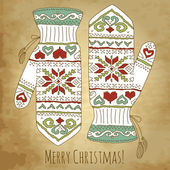 Hipster Christmas card with mittens — Cтоковый вектор