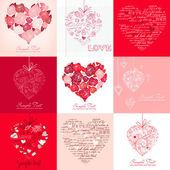 Cartões com corações — Vetorial Stock