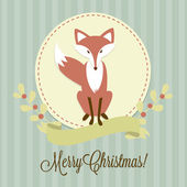 Christmas background with a Fox — Vetor de Stock
