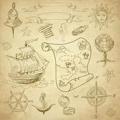 Doodle Sea vintage elements — Stock Vector