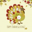 Thanksgiving turkey card — Stok Vektör