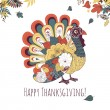 Thanksgiving turkey card — Stock Vector #33769245
