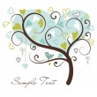 Love tree made of hearts — Imagen vectorial