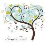 älska träd av hjärtan — Stockvektor