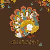 Święto Dziękczynienia Turcji karty — Wektor stockowy