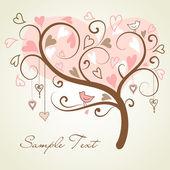 árbol de amor hecho de corazones — Vector de stock