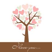 árbol de corazón — Vector de stock