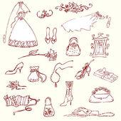 Conjunto de lindo glamour de la boda doodles — Vector de stock