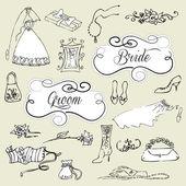 Hochzeit set hübsch glamourösen kritzeleien und bilderrahmen — Stockvektor
