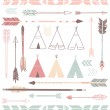 Teepee Tents and arrows  — Stock vektor
