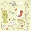 Rainy autumn days doodles — Stock Vector