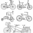 Stock Vector: Vintage bicycle set