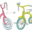Kids bicycles — Stock Vector