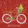 Christmas postcard. Riding a bike — Stock Vector